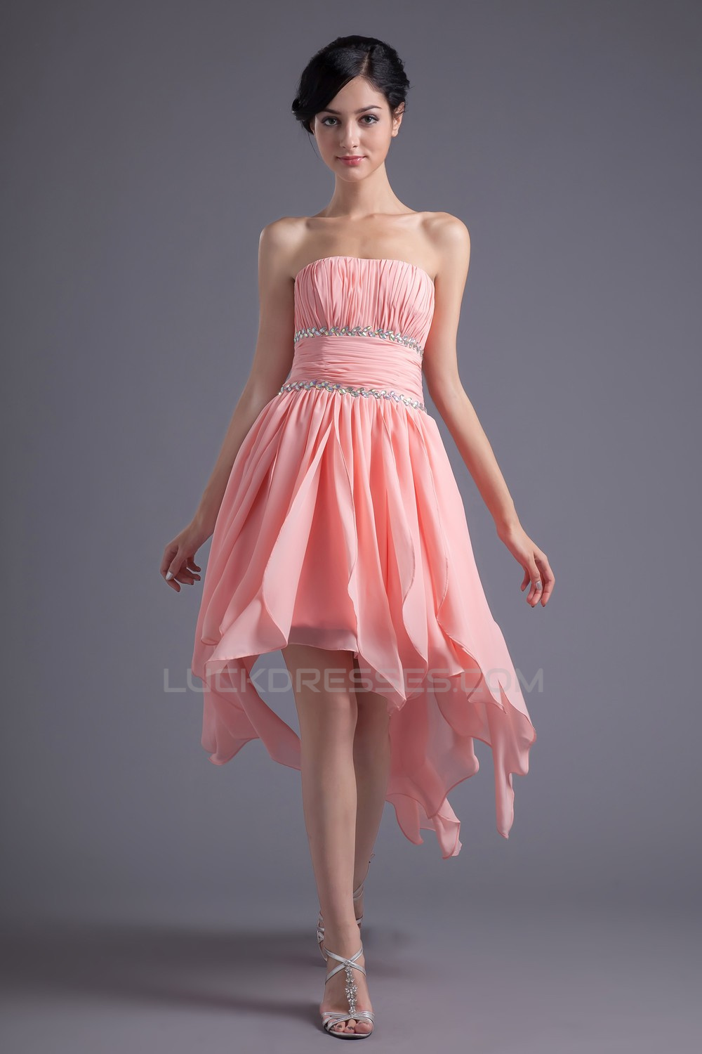 High Low Strapless Short Beaded Prom Evening Bridesmaid