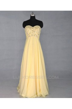 A-Line Sweetheart Beaded Long Yellow Chiffon Prom Evening Formal Dresses ED011421