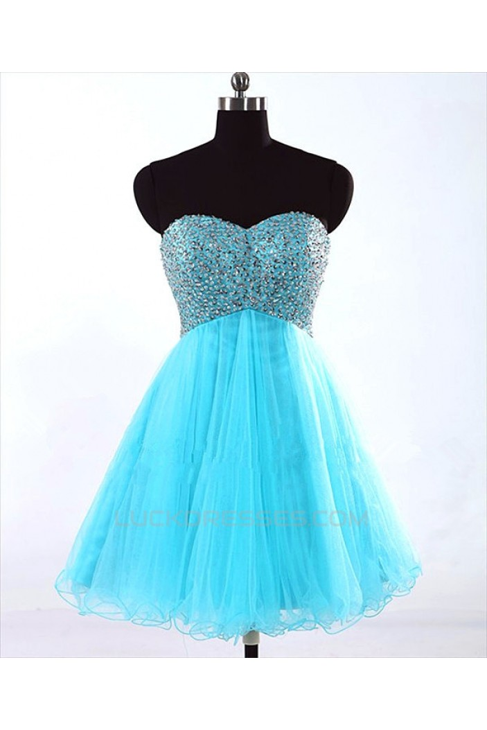 A-Line Sweetheart Short/Mini Beaded Tulle Prom Evening Cocktail Dresses ED011443