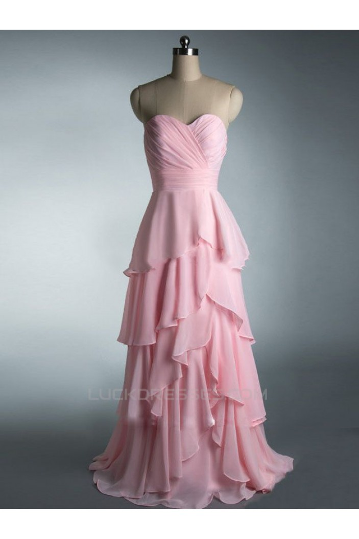 A-Line Sweetheart Long Pink Chiffon Prom Evening Formal Dresses ED011447