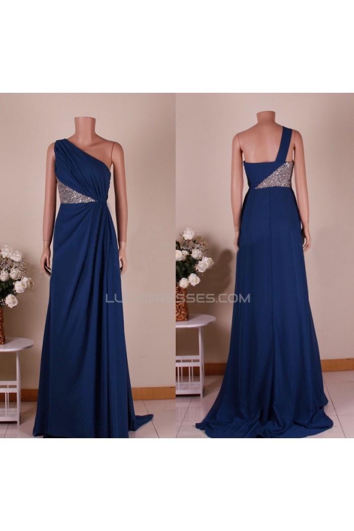 A-Line One-Shoulder Sequins Long Chiffon Prom Evening Formal Dresses ED011450