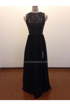 A-Line Long Black Lace and Chiffon Prom Evening Formal Dresses ED011469
