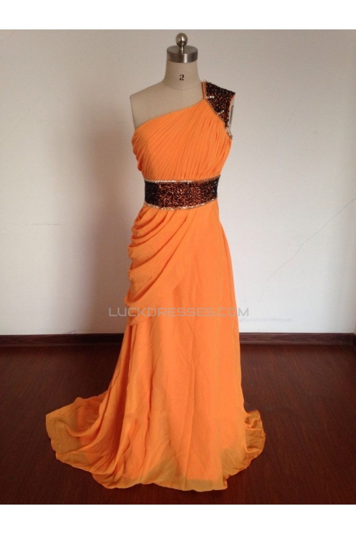 A-Line One-Shoulder Beaded Long Chiffon Prom Evening Formal Dresses ED011497