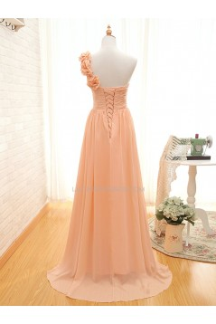 A-Line One-Shoulder Long Chiffon Prom Evening Bridesmaid Dresses ED011508