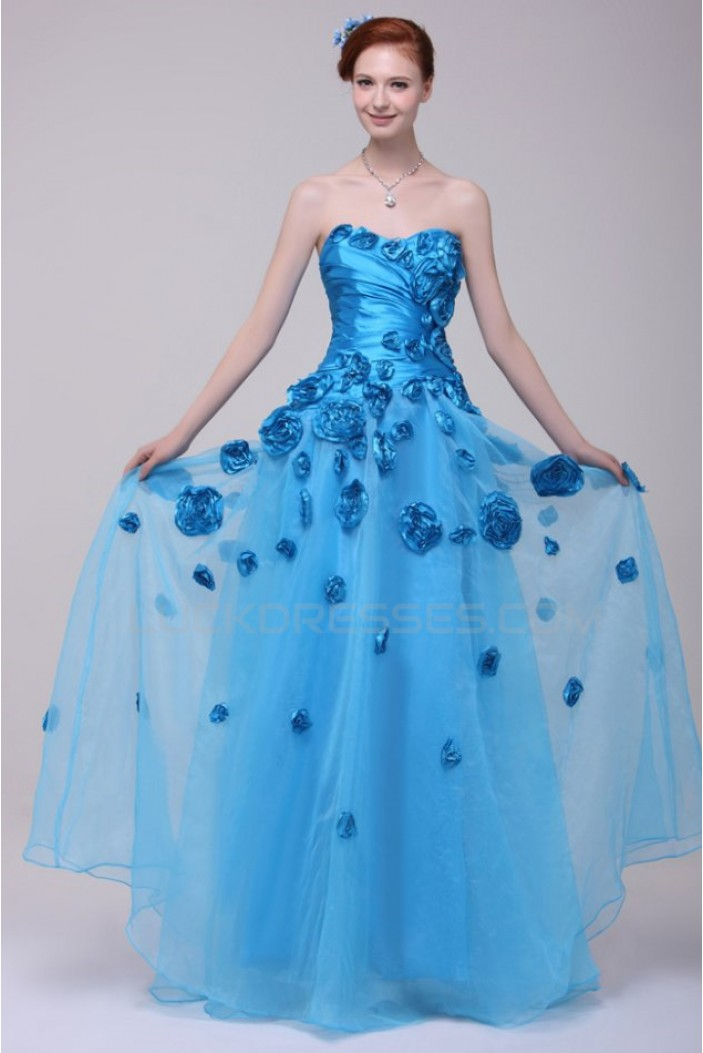 A-Line Sweetheart Long Blue Prom Evening Formal Party Dresses ED010151