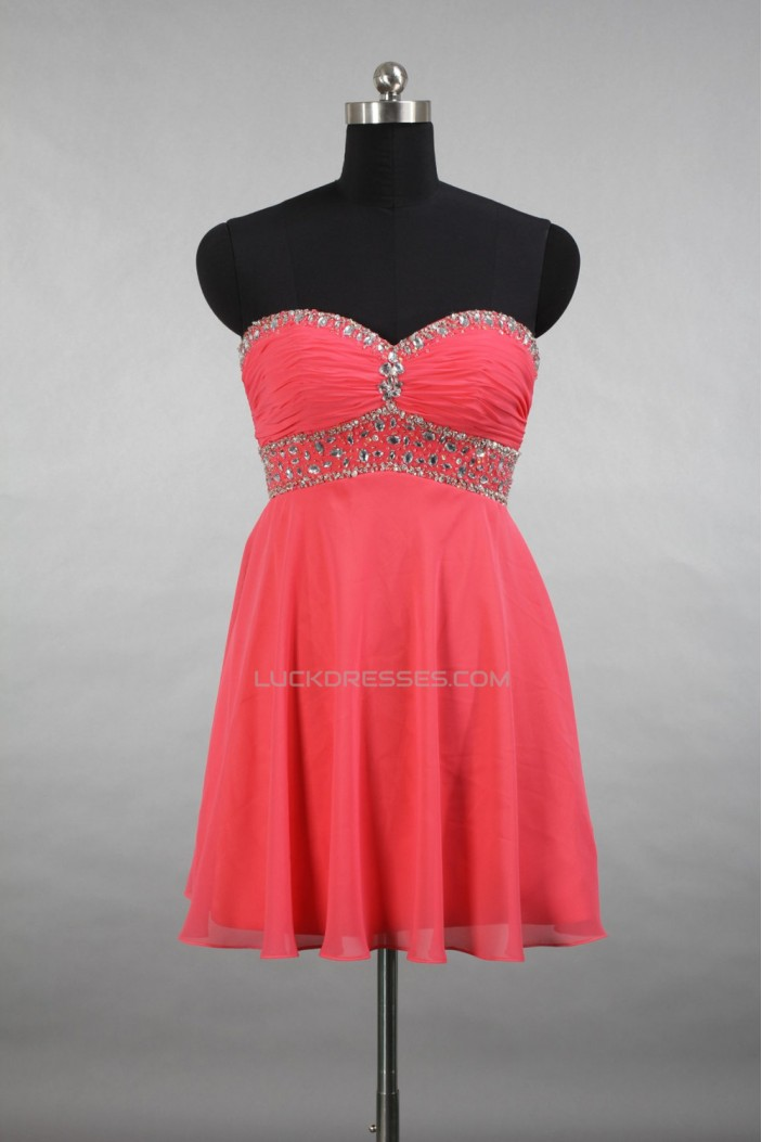 A-Line Sweetheart Beaded Short Chiffon Prom Evening Cocktail Dresses ED011517