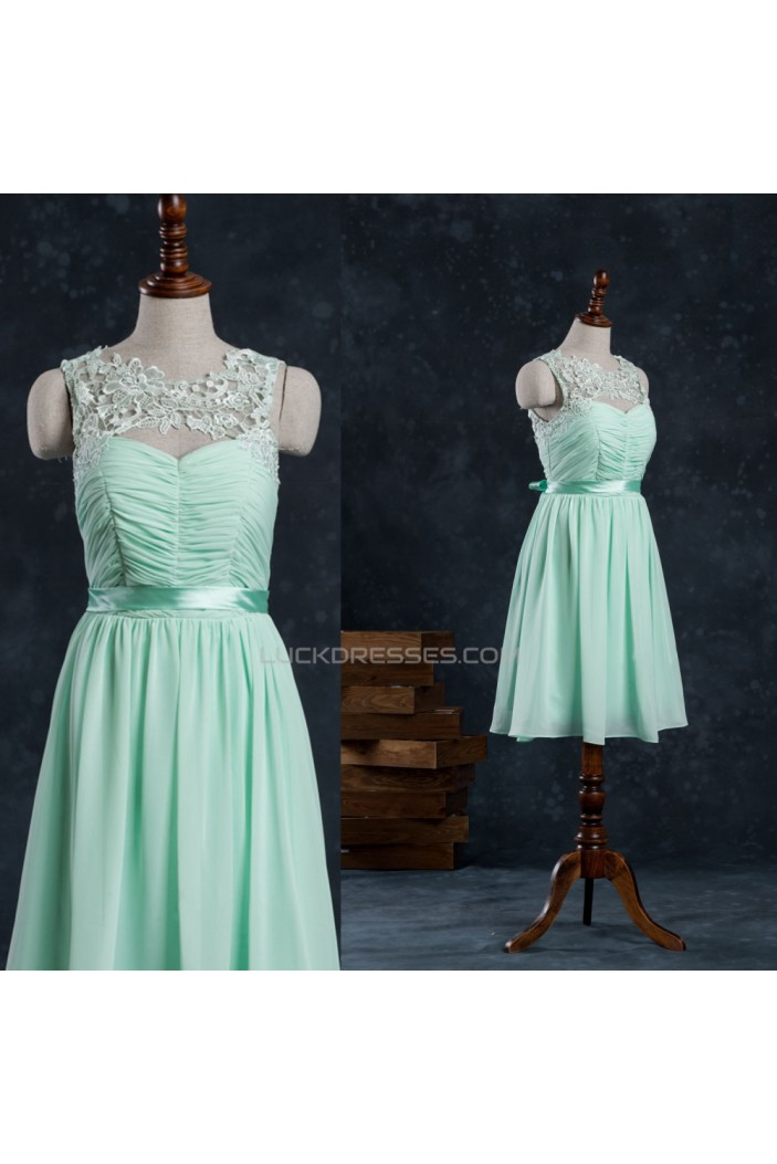 A-Line Short Lace and Chiffon Prom Evening Bridesmaid Formal Dresses ED011519
