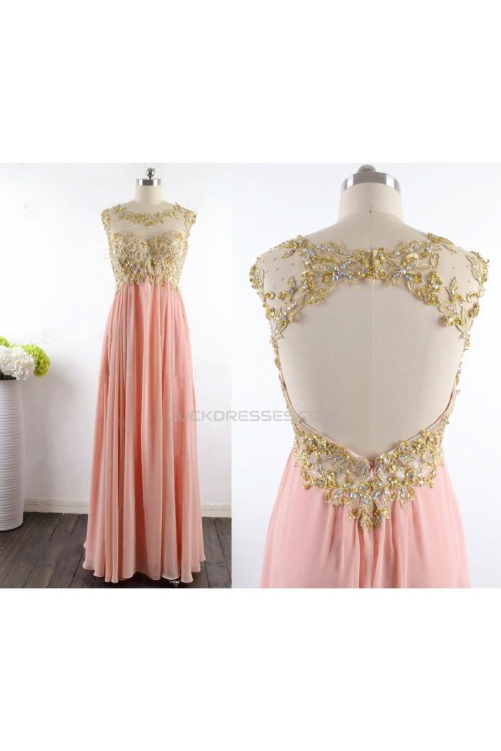 A-Line Beaded Long Chiffon Prom Evening Formal Dresses ED011529