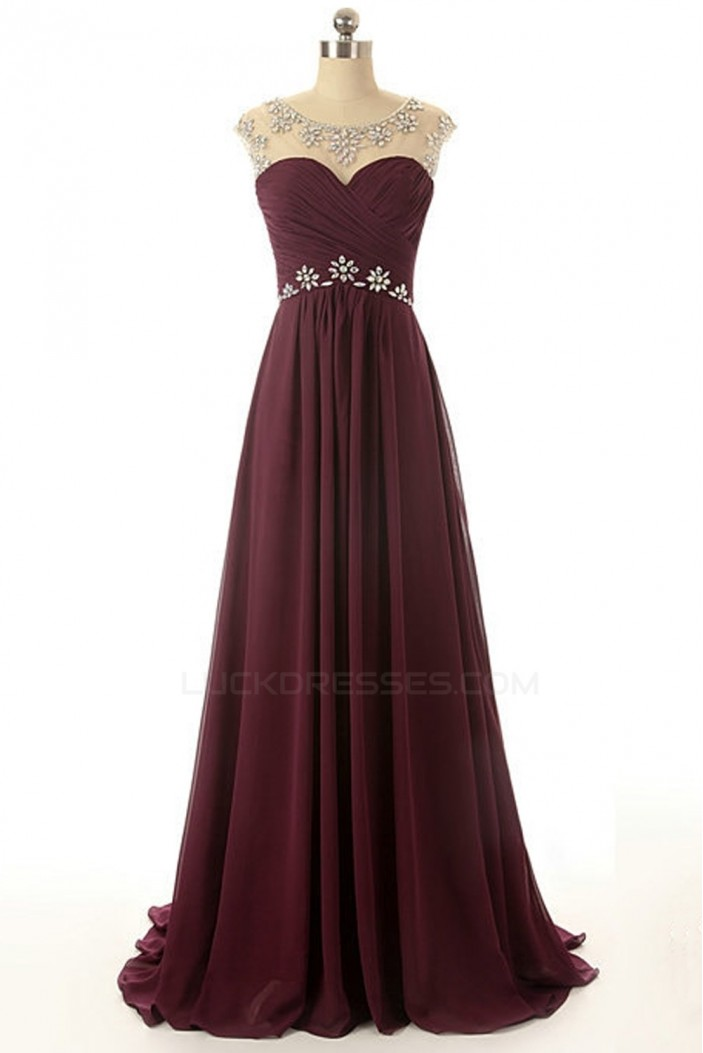 A Line Beaded Long Chiffon Prom Evening Formal Dresses
