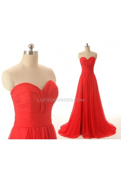 A-Line Sweetheart Long Red Chiffon Prom Evening Formal Dresses ED011548
