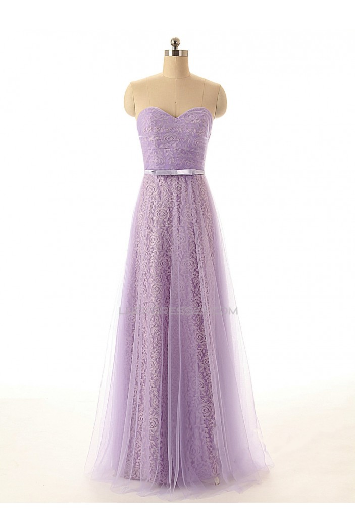 A-Line Sweetheart Long Lace and Tulle Prom Evening Formal Dresses ED011555