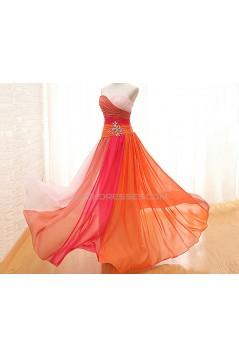 A-Line Sweetheart Long Chiffon Prom Evening Formal Dresses ED011565