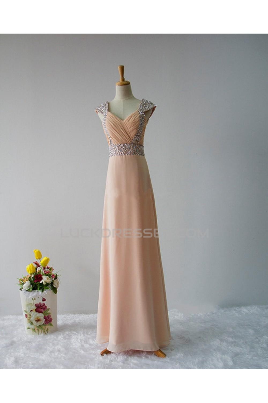 973d41fc24 Elegant A-Line Beaded Straps Sleeveless Long Chiffon Prom Evening ...
