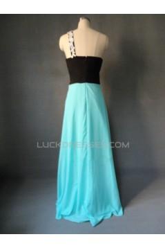A-Line One-Shoulder Long Chiffon Prom Evening Formal Dresses ED011612