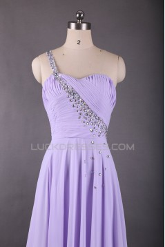 A-Line One-Shoulder Lilac Long Chiffon Prom Evening Formal Dresses ED011613