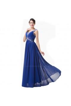 A-Line Beaded Long Blue Chiffon Prom Evening Formal Dresses ED011624