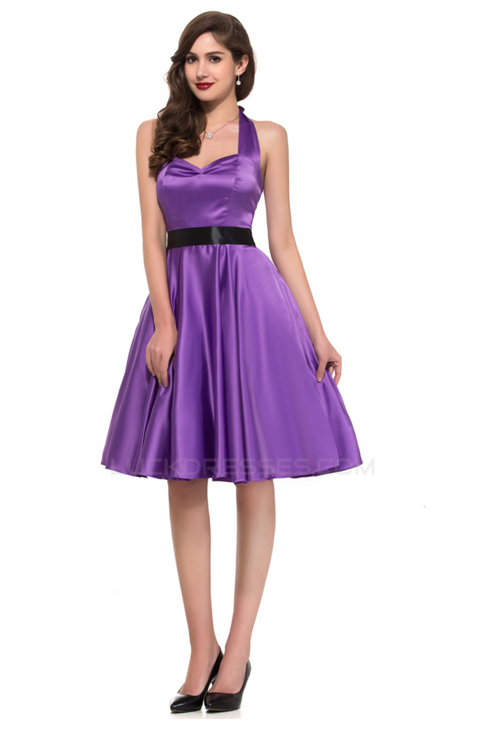 A line halter short satin prom evening bridesmaid dresses for Aline halter wedding dresses
