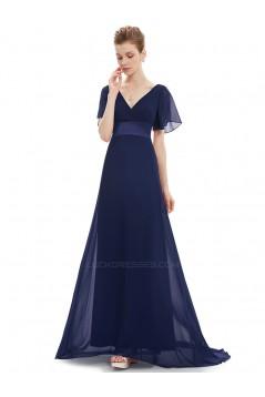 A-Line V-Neck Long Chiffon Mother of the Bride Dresses Evening Formal Dresses ED011635