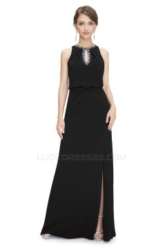 Sheath/Column Jewel Beaded Long Chiffon Prom Evening Formal Dresses ED011639