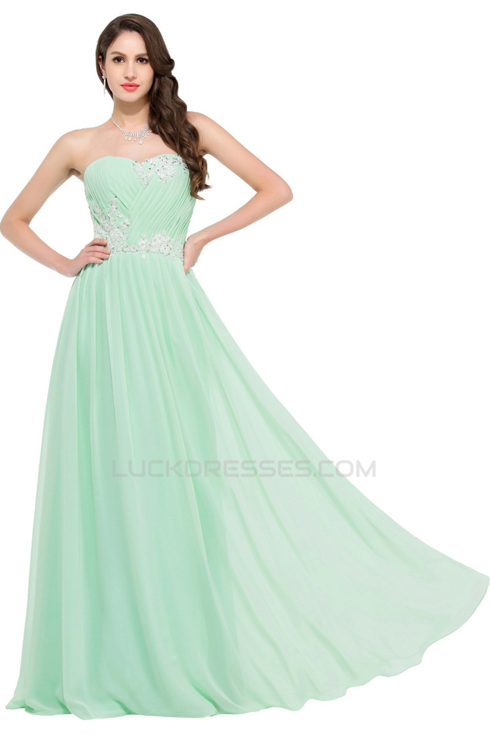 Green Chiffon Sweetheart Dress