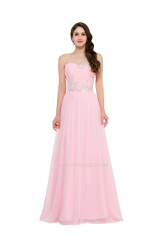 A-Line Sweetheart Beaded Long Pink Chiffon Prom Evening Formal Dresses ED011641