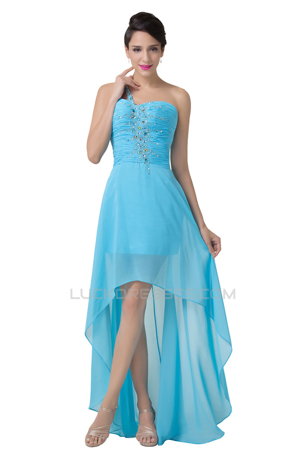 High Low One Shoulder Short Beaded Chiffon Prom Evening