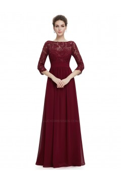 A-Line Half Sleeve Long Black Lace and Chiffon Prom Evening Formal Dresses ED011645