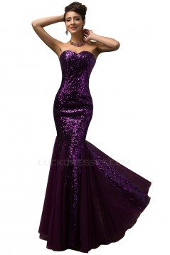 Trumpet/Mermaid Sweetheart Sequins and Tulle Long Prom Evening Formal Dresses ED011653