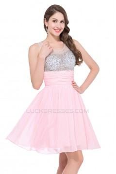 A-Line Beaded Short Chiffon Prom Evening Cocktail Dresses ED011658