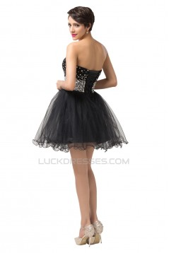 A-Line Sweetheart Beaded Short Tulle Black Prom Evening Cocktail Dresses ED011666