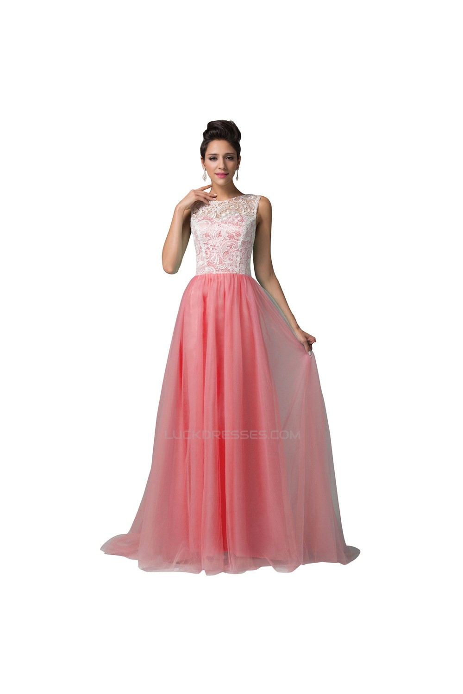 A-Line Bateau Mint Green Lace Long Prom Evening Formal Dresses ED011668