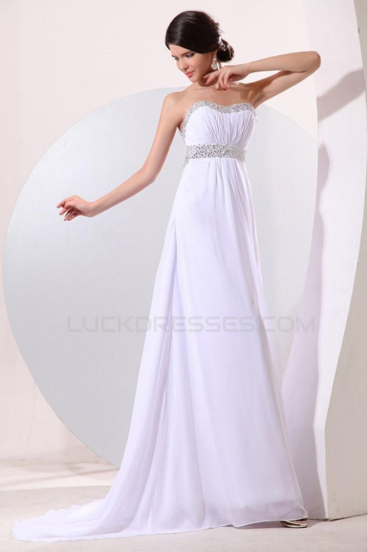 1344e09083c5b Empire Long White Chiffon Beaded Prom Evening Formal Party Dresses/Maternity  Evening Dresses ED010182