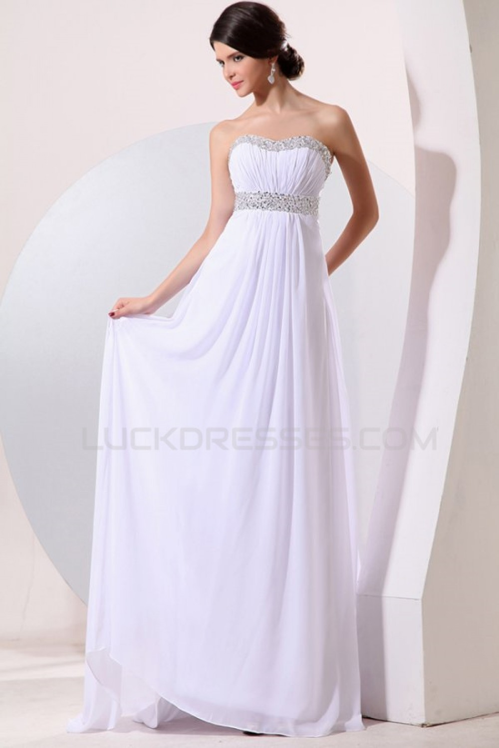 Empire Long White Chiffon Beaded Prom Evening Formal Party
