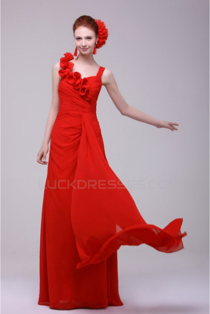 Long Red Chiffon Prom Evening Formal Party Dresses/Bridesmaid Dresses ED010191