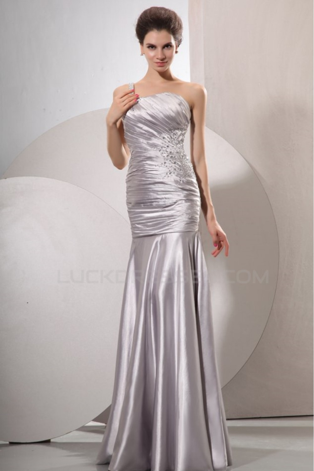 Long Silver Beaded One-Shoulder Prom Evening Formal Party Dresses ...