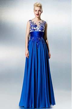 See Through Plus Size Petite A-line Jewel Floor-length Chiffon Lace with Beading Formal Evening Dress ED010221