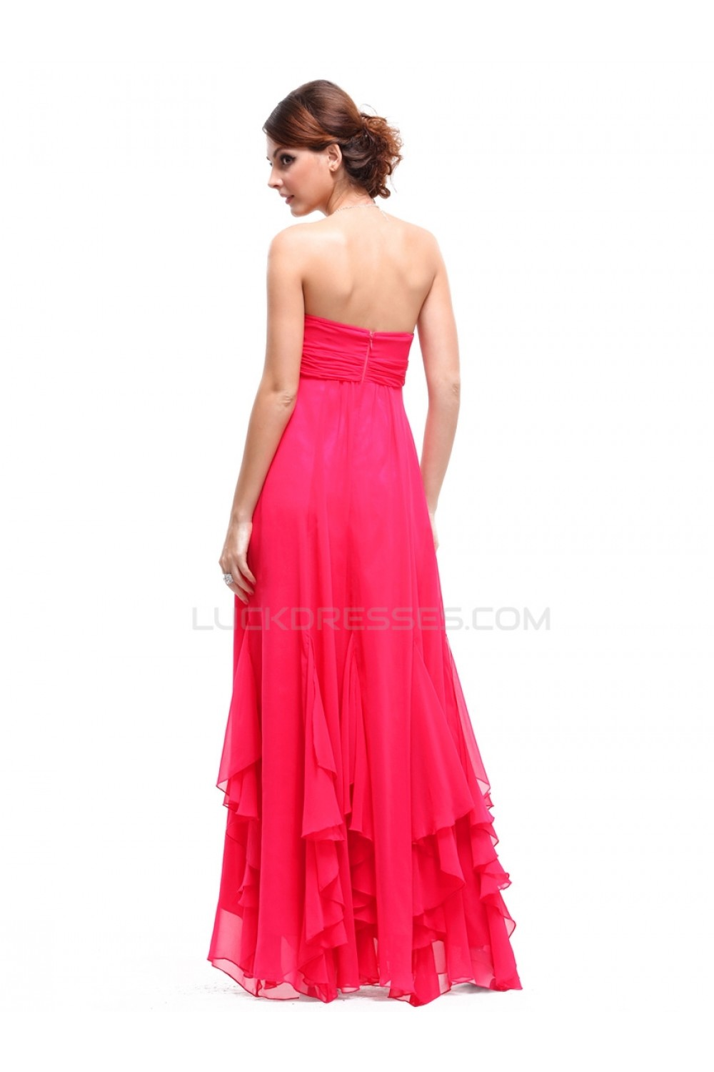 Long Pink Strapless Chiffon Prom Evening Formal Party Dresses ...