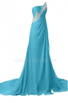 A-Line One-Shoulder Long Blue Chiffon Prom Evening Formal Party Dresses ED010226