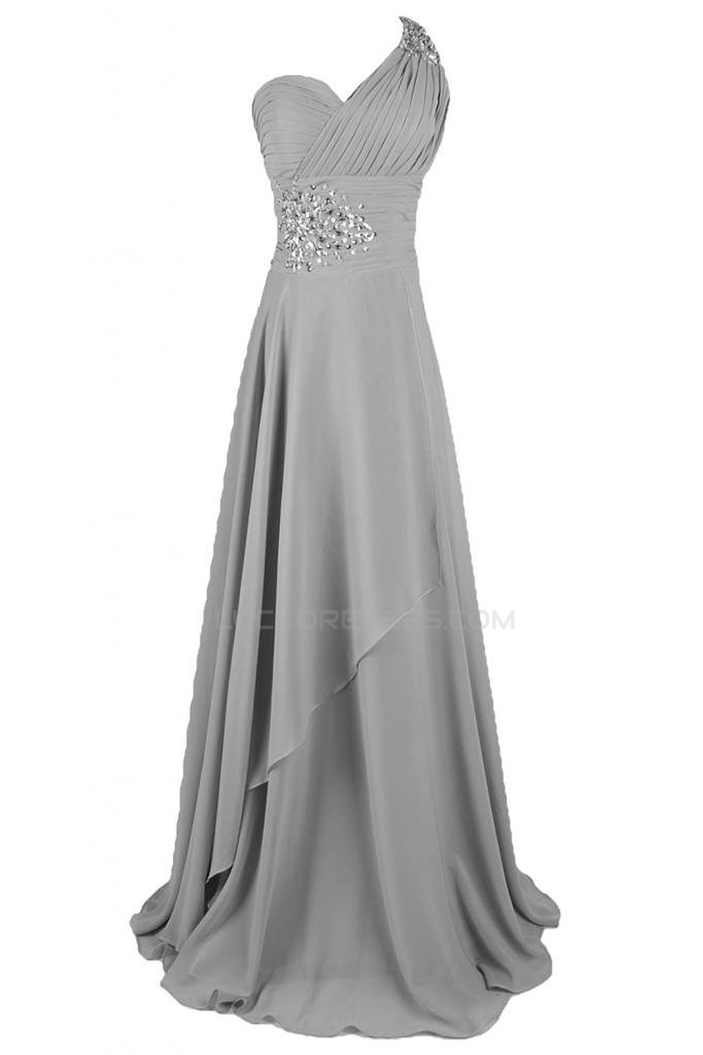 9b3febca7 A-Line One-Shoulder Long Silver Chiffon Prom Evening Formal Party ...