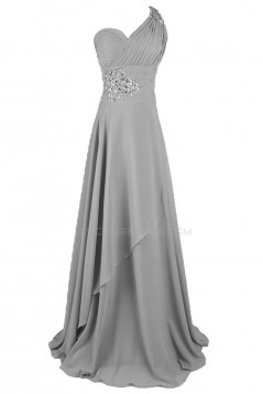 A-Line One-Shoulder Long Silver Chiffon Prom Evening Formal Party Dresses ED010240
