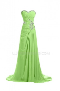 A-Line Sweetheart Beaded Long Blue Chiffon Prom Evening Formal Party Dresses ED010248