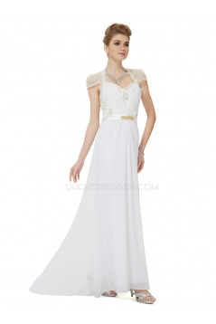 Long White Beaded Chiffon and Lace Prom Evening Formal Party Dresses ED010266