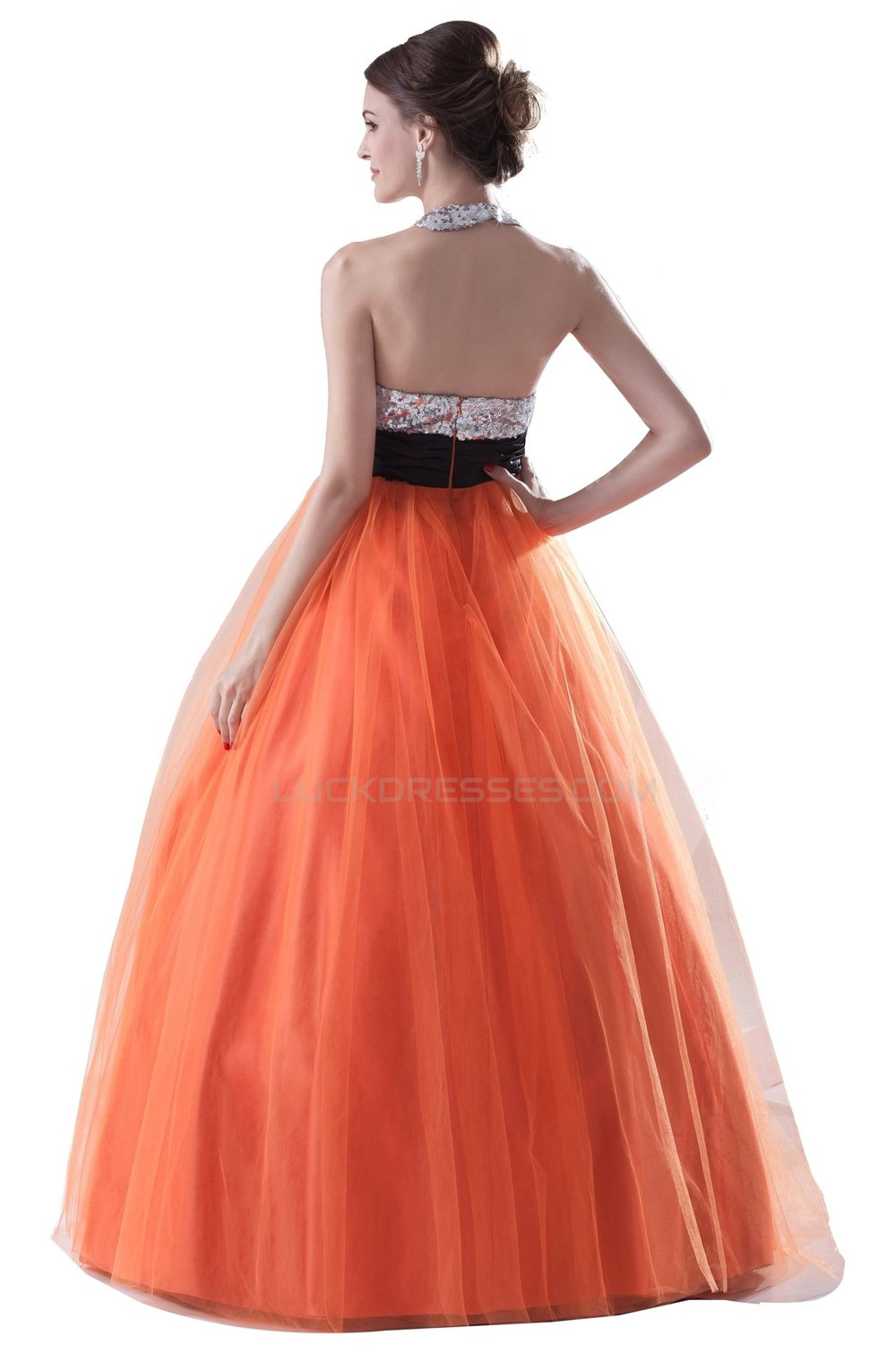 Ball Gown Halter Sequin And Tulle Long Prom Evening Formal