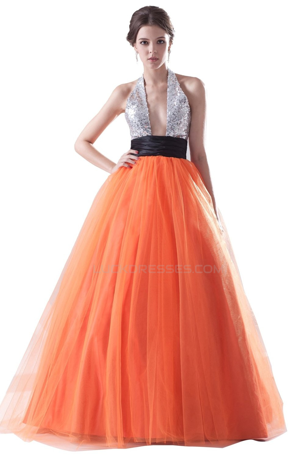 Ball Gown Halter Sequin and Tulle Long Prom Evening Formal Party ...