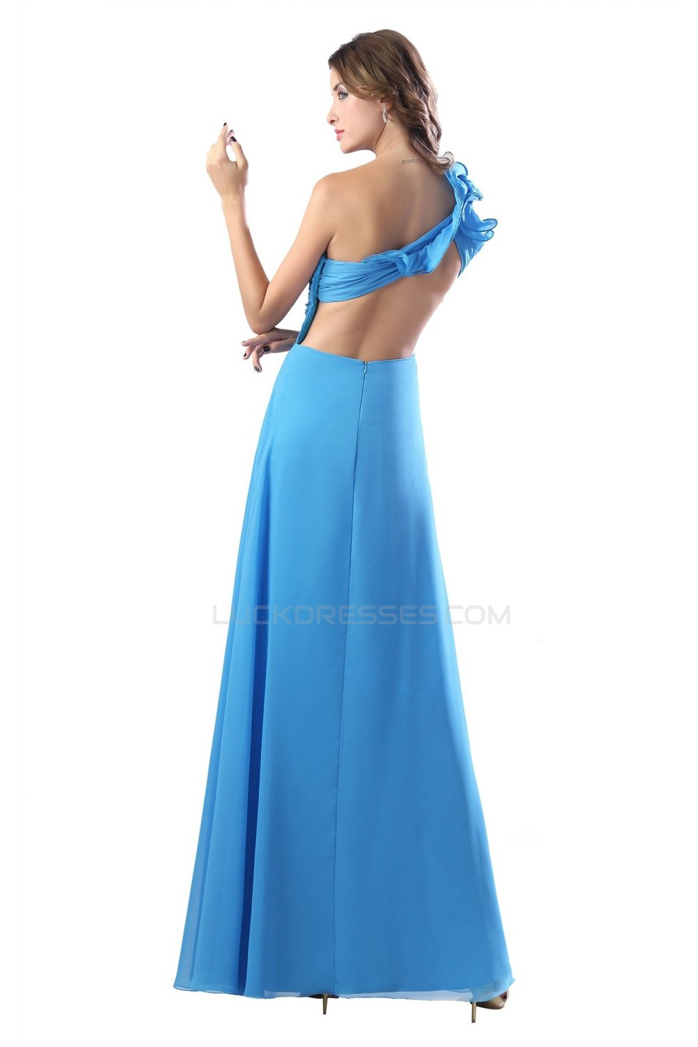 Blue One-Shoulder Beaded Chiffon Prom Evening Formal Party Dresses ...