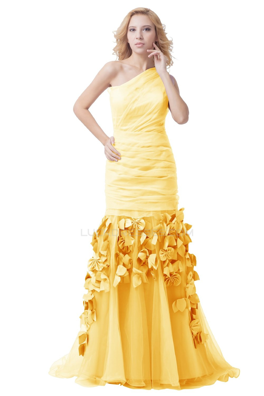 Long Yellow One-Shoulder Prom Evening Formal Party Dresses ED010287