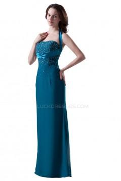 Halter Beaded Long Black Prom Evening Formal Party Dresses ED010322