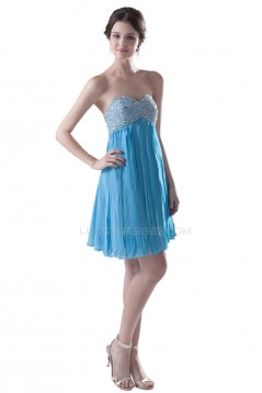 A-Line Sweetheart Short Blue Beaded Chiffon Prom Evening Formal Party Dresses ED010327