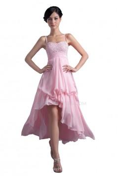 A-Line High Low Short Beaded Pink Prom Evening Formal Party Dresses ED010346