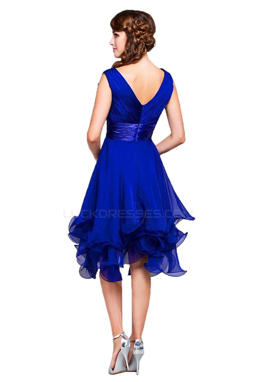 A Line Princess V Neck Short Royal Blue Chiffon Prom